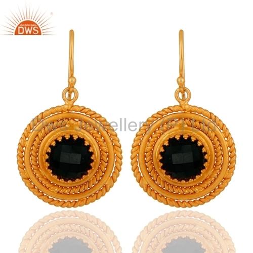 Gold Plated Sterling Silver Black Onyx Gemstone Earrings