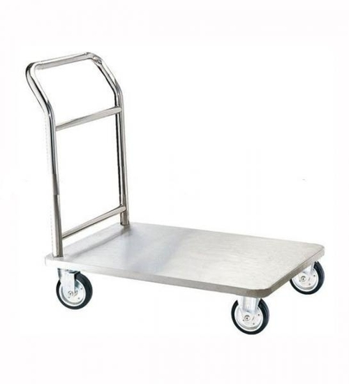 St.Steel Platform Trolley With White Polymer Nylon
