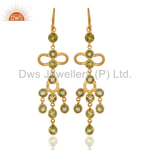 18K Gold Vermeil Sterling Silver Peridot Gemstone Earrings