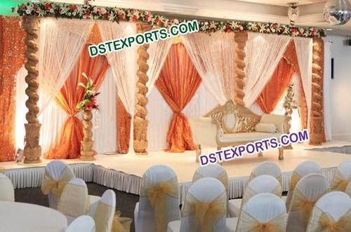 Wedding Wooden Pillar Open Stage
