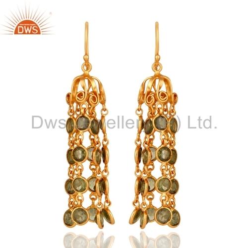 Peridot Gold Plated Sterling Silver Earrings