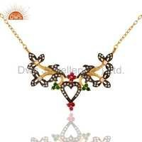Designer 925 Silver Gold Plated Zircon Necklace