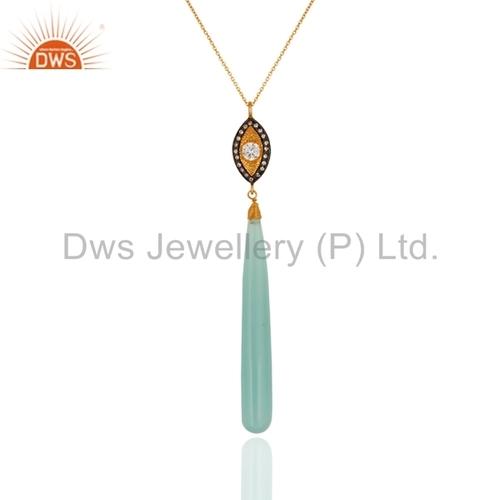 Aqua Blue Chalcedony Gold Plated Silver Pendant