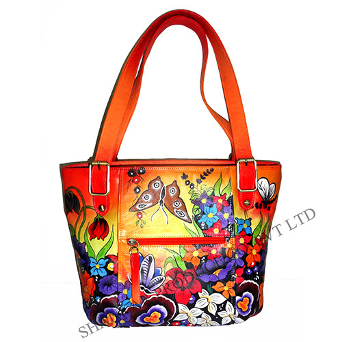 Leather Hand Painted Shoulder Bag
