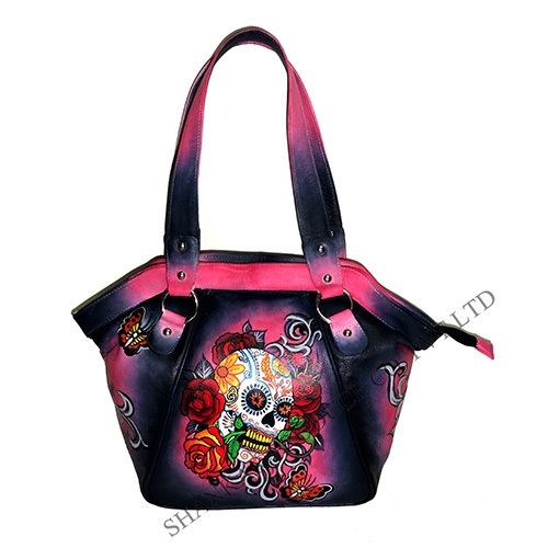 Leather Hand Painted Handbag