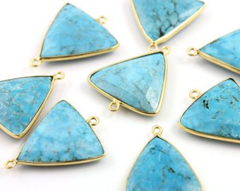925 Sterling Silver Man-made Turquoise gemstone Connector