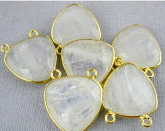 925 Sterling silver rainbow Moonstone gemstone Connector