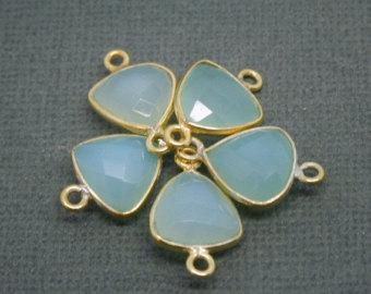 925 Sterling Silver Aqua Chalcedony gemstone Connector