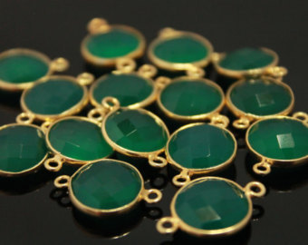 925 Sterling Silver Green onyx gemstone connectors