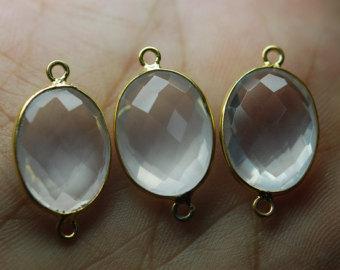 925 sterling silver Crystal quartz gemstone Connectors