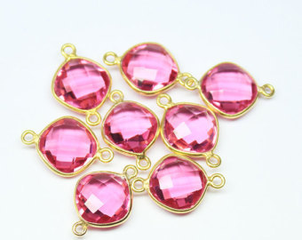 925 Sterling silver Hydro pink topaz gemstone connectors