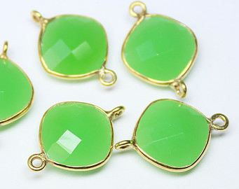 925 Sterling silver See Green Chalcedony gemstone Connectors