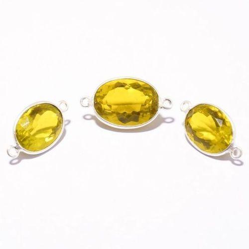 Lemon Quartz faceted oval cut stone connectors silver plated