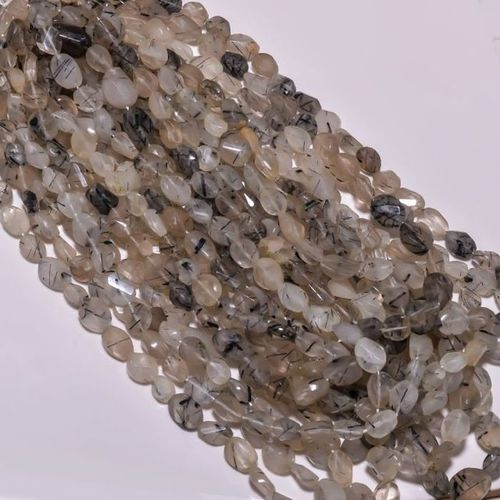 Rutile quartz plain oval beads