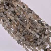 Rutile quartz plain oval beads