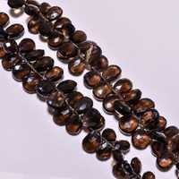 Smoky quartz faceted almond beads