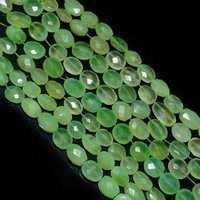 Prehnite Chalcedony Faceted Oval beads