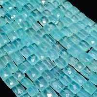 Aqua Blue Chalcedony  Faceted Rectangle beads