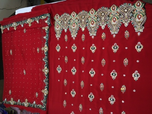 Unstitched Red Salwaar Kameez Material
