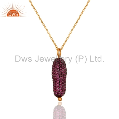 Sterling Silver Ruby Pave Pendant