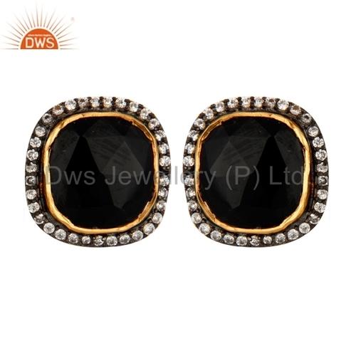 22K Gold Vermeil Sterling Silver Black Onyx Earrings