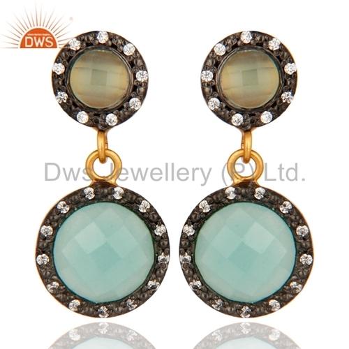 Sterling Silver Blue Aqua Glass Earring