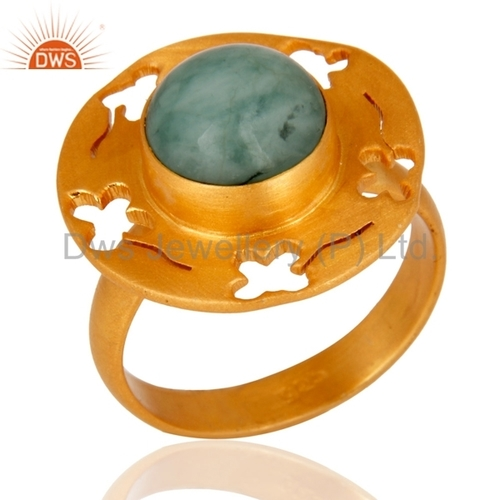 Emerald 18K Gold Vermeil Sterling Silver Ring