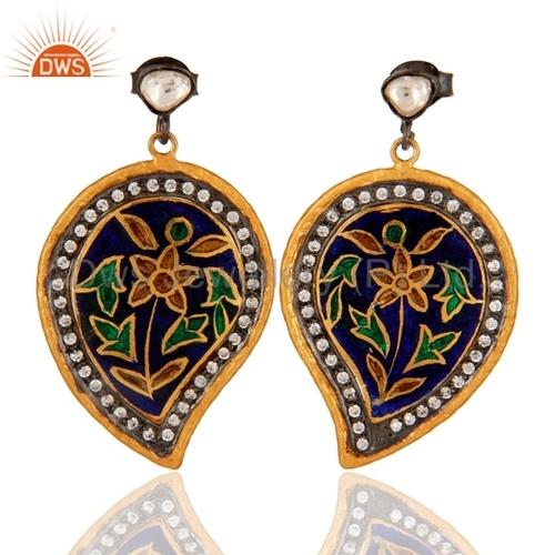 925 Silver Enamel Kundan Meena Earrings