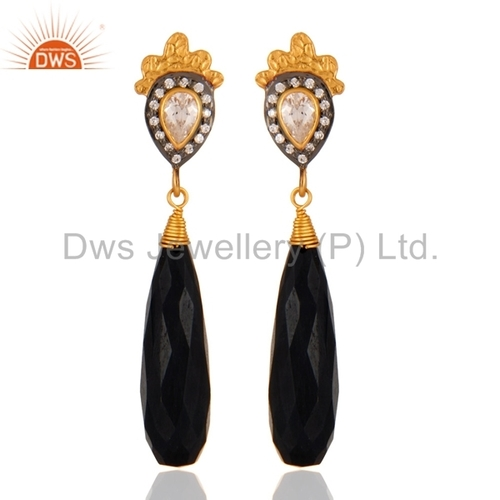 Black Onyx and CZ 18K Gold Plated Sterling Silver Earring