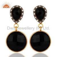 Sterling Silver With Yellow Gold Vermeil Black Onyx Earrings