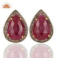 925 Silver Pave Diamond Ruby Earrings