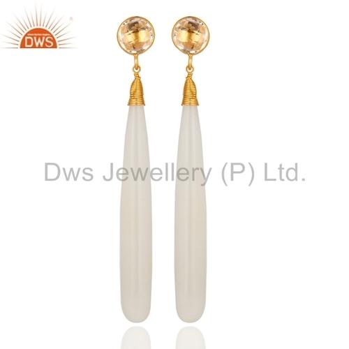 18k Gold Plated Sterling Silver Crystal Quartz Teardrop Earrings