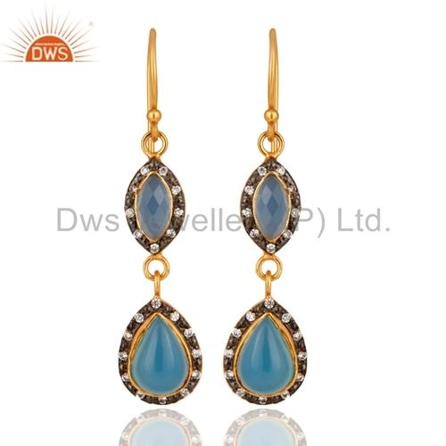 Aqua Blue Chalcedony Sterling Silver Earrings