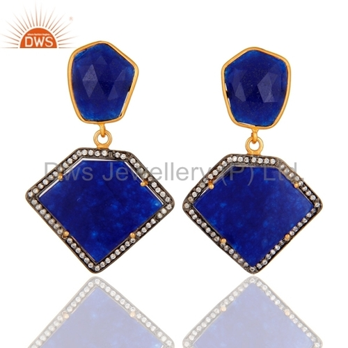 Blue Aventurine 18K Gold Plated Sterling Silver Earrings
