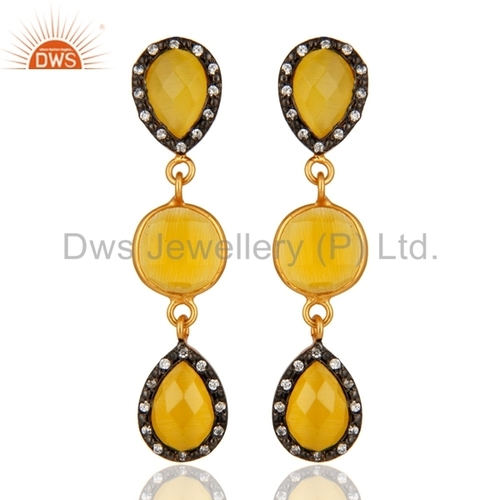 Yellow Moonstone 18-K Gold On Sterling Silver Earring