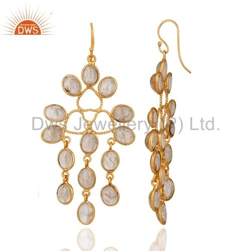 14 K Gold Plated Over Brass Rutilated Quartz Earrings