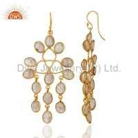 14 K Gold Plated Over Brass Rutilated Quartz Earrings
