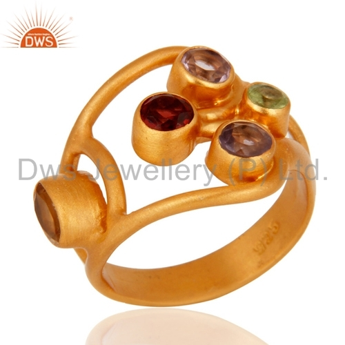 Multi-Color Gemstone 18k Gold Plated Sterling Silver Ring