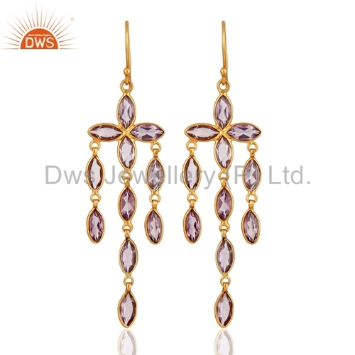 Gold Plated Sterling Silver Amethyst Earrings