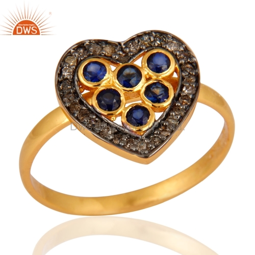 Heart Shape Gemstone Diamond Ring
