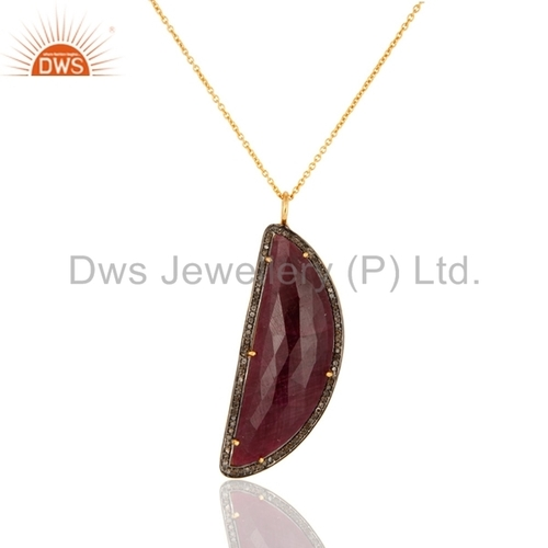 Pave Diamond & Ruby Sterling Silver Pendant