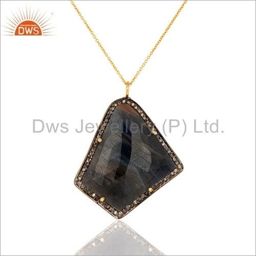 925 Silver Blue Sapphire Pave Diamond Pendant
