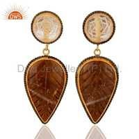 Gold Plated Sterling Silver Carved Agate & Crystal Earrings