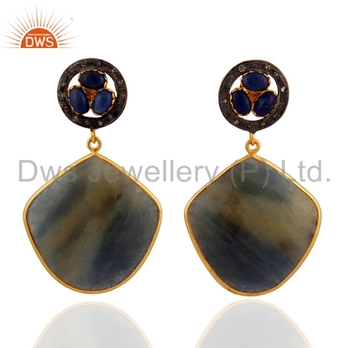 Sterling Silver Pave Diamond Blue Sapphire Earrings