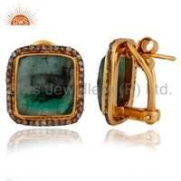 18k Gold Plated Sterling Silver Emerald Pave Diamond Earrings