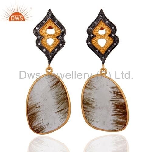 Golden Rutilated Quartz & CZ 24K Gold Over 925 Silver Earrings