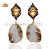Golden Rutilated Quartz & CZ 24K Gold Over 925 Silver Earrings