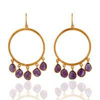 18k Gold Vermeil Sterling Silver Amethyst Earrings