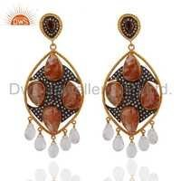 Sun Stone  Sterling Silver Gold Vermeil Crystal Earrings