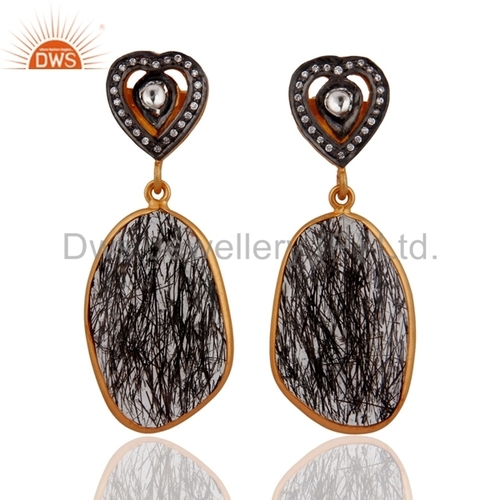 Gold Plated Sterling Silver Black Rutilated Quartz Earring